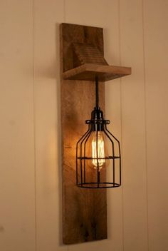 Cage Light Chandelier Wall Mount Fixture by Bornagainwoodworks - Wall Fixtures Pin Rustic Lamps, Rustic Lighting, Industrial Lighting, Modern Lighting, Outdoor Lighting, Rustic Wood, Industrial Bedroom, Farmhouse Lighting, Industrial Table