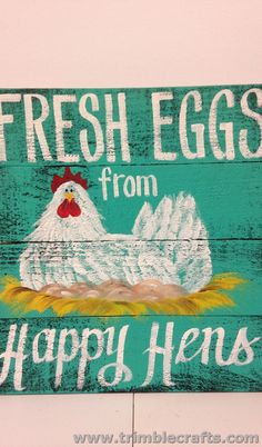 Fresh eggs from Happy hens sign Coop decor Chicken nest eggs painting Pallet craft by trimblecrafts on Etsy