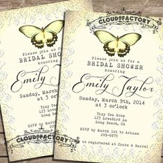 Printable Bridal Shower invitations - DIY printable file - soft gold pale yellow butterfly fancy lace - vintage wedding -  No.39 on Etsy, $20.00