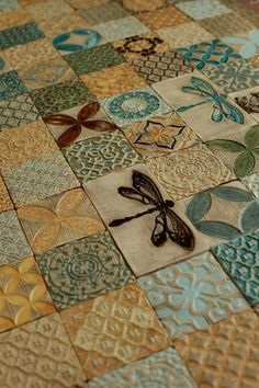 Dragonfly&Mushroom Ceramic Rustic Tile Set of 9 for