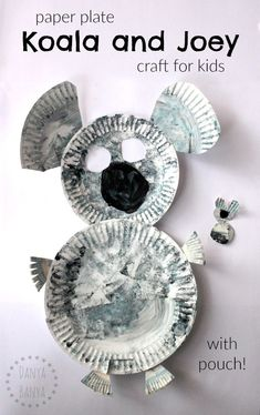 Paper plate koala (with pouch) and baby joey craft for kids. Cute Aussie activity for Australia Day or an Australian unit, and a great way to learn about this native Australian animal. Paper Plate Art, Paper Plate Crafts For Kids, Animal Crafts For Kids, Easy Crafts For Kids, Toddler Crafts, Crafts To Do, Paper Plates, Diy For Kids, Bear Crafts