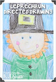 First Grade Blue Skies: Leprechaun Directed Drawing FREEBIE