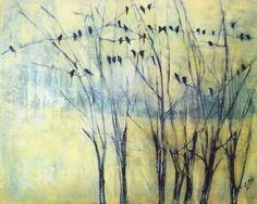 ARTFINDER: A bird song by Marjan Fahimi - Mixed media on wood - 40x50 cm