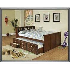 walnut wood finish full captain bed with bookcase headboard full size bed with twin trundle bed bookcase headboard features 3 shelves and 3 storage