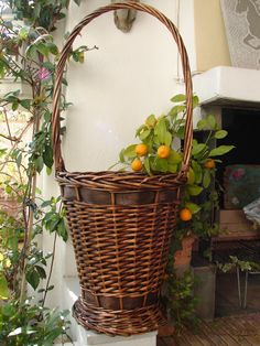 Antique Frenchtall wicker flower basket with by shabbyfrenchstyle, $55.00