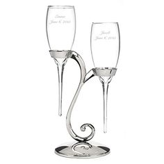 Personalized Raindrop Champagne Flutes - Canopy Street - Custom Engraved Set of 2 (20772P) ** Want to know more, click on the image.