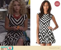 Carrie's black and white striped dress on The Carrie Diaries. Outfit Details: http://wornontv.net/25651 #TheCarrieDiaries #fashion