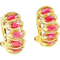 14k RUBY Earrings French Back STUNNING ***ALSO SEE Vintage Jewelry at: http://MyClassicJewelry.com/shop