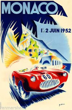 1952-Monaco-French-Grand-Prix-Art-Automobile-Race-Advertisement-Vintage-Poster