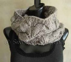 #107 Deluxe Lace Cowl PDF Knitting Pattern #SweaterBabe.com #knitting