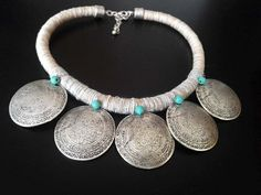 Your place to buy and sell all things handmade Rope Necklace, Tribal Necklace, Collar Necklace, Turquoise Beads, Turquoise Bracelet, Handmade Necklaces, Boho Jewelry, Antique Silver, Ethnic