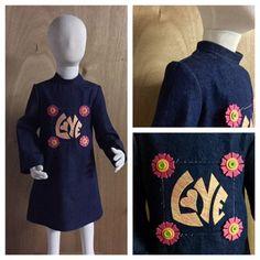 Boho/Hippie/Retro Style Denim Dress, size 4t by SewMeems on Etsy