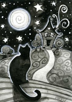 The House on the Hill  - 5x7 print - by Brenna White - black cat witch moon stars haunted house