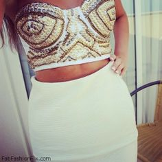 Love this sequined bustier and white pencil skirt. Women's spring summer fashion clothing outfit for going out Bustier Top, Look At You, Swagg, Fashion Outfits, Womens Fashion, Chic, Blouse, Style Guides, Spring Summer Fashion