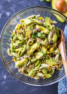 Take chicken salad to a new level with the addition of avocado. This naturally creamy chicken and avocado salad is healthy and contains no mayo or sour cream. Ever since I tried avocado in a grilled chicken sandwich, I can no longer have chicken without avocado. The creamy avocado compliments chicken so well and the