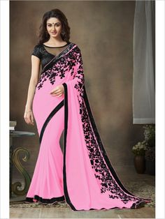 Pink Party Wear Georgette Saree