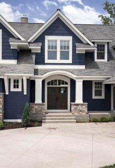 Best Exterior Paint Combinations Inspirational Benjamin Moore Hale Navy the Best Navy Blue Paint Color Exterior Paint Color Combinations, House Paint Color Combination, Color Schemes, Roof Shingle Colors, Roof Colors, Exterior Paint Colors For House, Paint Colors For Home, Navy House Exterior, Grey Exterior