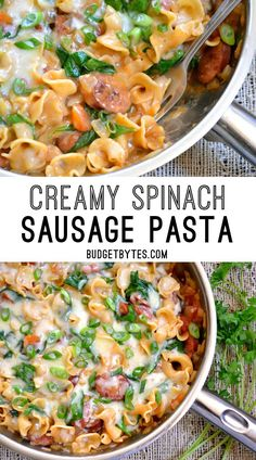 Creamy Spinach and Sausage Pasta is an easy one pot meal for quick weeknight dinners. @budgetbytes