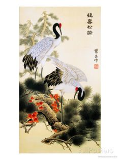 Cranes and Pine Tree Giclee Print by Fangyu Meng - AllPosters.co.uk