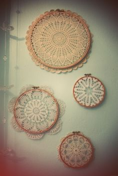 wooden embroidery ring+crochet doillys=wall art