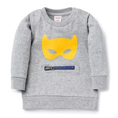 100% Cotton Sweater. Jersey sweater, with ribbed cuffs, hem and neckline. Features mask flock print on front and kangaroo pocket with zip closure. Regular fitting silhouette with snaps on baby's left shoulder for easy dressing. Available in colour shown.