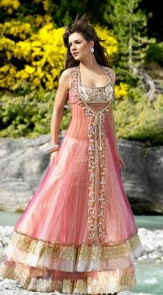 Breathtaking pink lehenga with silver choli on net cloth #embroidered long jacket.