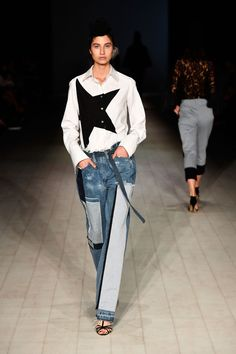 Repurposed denim made its way on the Tome runway