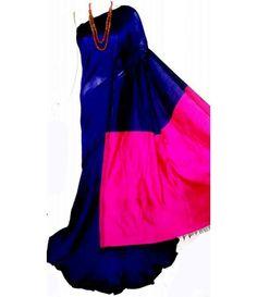 Blue Handloom Tussar Silk Saree South Silk Sarees, Tussar Silk Saree, Buy Sarees Online, Indian Ethnic Wear, Designer Sarees, Ikat, Cloths, Collections, Formal