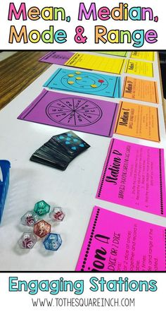 Mean, median, mode and range stations   These low prep stations allow students to create their own data sets in fun and engaging ways and then find the mean, median, mode and range of each. This classroom tested activity is a great way to get your students excited about measures of central tendency and variation.