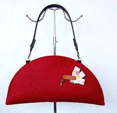 DIY kit bolso rafía verano rojo