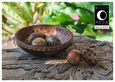 Wooden Bowl. Turned wood bowl. Batik finish using wax and colored dyes. A0985