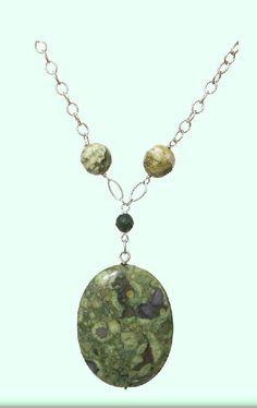 Kambala Jasper Multicolor Green Oval,925 Sterling Silver Necklace - Handmade - Natural Stones - Jewelry - FREE SHIPPING de ArtGemStones en Etsy