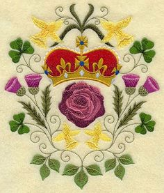 A Diamond Jubilee design with a rose, daffodils, thistle, and shamrock. Embroidery Files, Machine Embroidery Designs, High Tea Wedding, Thistle Tattoo, Daffodil Tattoo, Tudor Rose, Linens And Lace, Rose Design, Couture