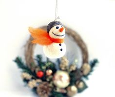 Miniature Snowman with Acorn Cap. Needle Felted by TheDwarfRam