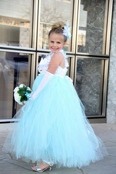 I love this for my flower girls!  Tiffany Blue Flower Girl Dress Any Size Available by FabTutus, $90.00