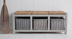 Large grey stoarage bench with 3 baskets  43heightx109x36 depth