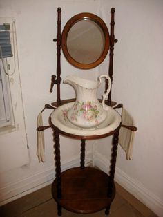 Item # 13 -- Partial Contents Of Spare Bedroom Inc. Walnut Wash Stand W/Bowl And Pitcher Set