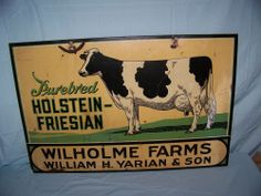 "Vintage 1940's Holstein-Friesian Dairy Cow Cattle Farm 2 Sided 36"" Metal Sign"