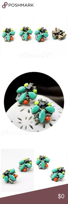 """Neon Mint Button Stud Earrings! Fun Boutique Neon Yellow & Lady Mint Button Stud Earrings!  • Nickel & Lead Free • Clear Crystal Stones • Multi-color Rhinestones  ➖Prices Firm, Bundle for 20% Discount ➖""""Trade"""" & Lowball Offers will be ignored ➖Sales are Final, Please read Description & Ask Any Questions! Boutique Jewelry Earrings"""