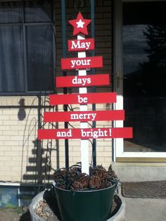 May your days be merry and bright! I made it out of scrap wood, spray paint, pine cones and a string of lights. Used a coffee can with quick set cement in it to make the tree stand sturdy. Merry Christmas To All, Christmas Holidays, Christmas Crafts, Christmas Ideas, Christmas Tree, Girls Night Crafts, Craft Night, Christmas Paintings, Wood Projects