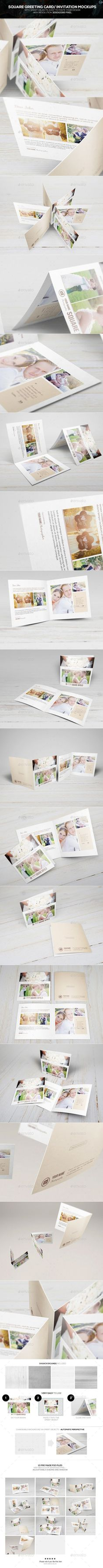 Square Greeting Card - Invitation Mockups If you are looking a something new and unique for your company's brochure, stop thinking about the traditional brochures and try out this mockup. Inspiring from the greeting card invitation, we offer this style as your brand new form of the brochure. It is very handy, convenient and new-fangled.