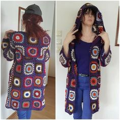 Custom only Granny squares coat Granny jacket Hooded Boho coat Long Sleeved cardigan Crochet Boho sweater Gypsies hood Hippie jacket hoodie Hippie Crochet, Fingerless Mittens, Hippie Outfits, Crochet Cardigan, Crochet Granny, Granny Squares, Festival Outfits, Festivals, Online Business
