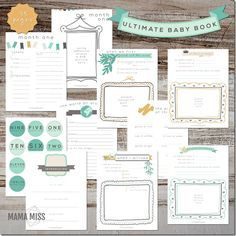 Loving the colors and design of this printable baby book. Includes tons of extras including printable t-shirt labels. So awesome!!