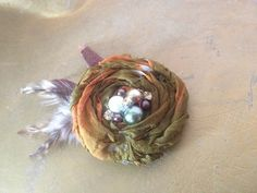 Camo silk flower hair clip, rustic style, brown green rust colors, feathers, rustic wedding outdoorsy, nature, prom on Etsy, $12.50