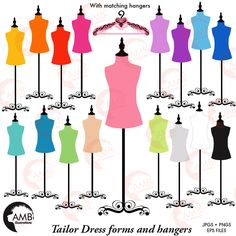 Dress Forms & Hangers Clipart 1007 by AMBillustrations on @creativemarket