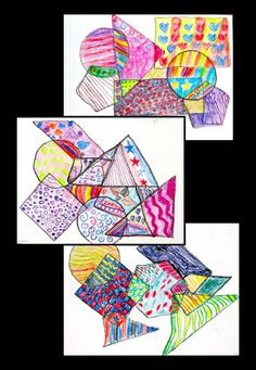 Pattern-a-Shape - no prep art lesson perfect for substitutes!  Math-connected - work with shape and pattern