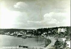Østfold fylke Hvaler kommune  Skjærgårdsbadet, oversikt med strand og bryggeområde,Utg J.A.Jensen. Postgått 1949