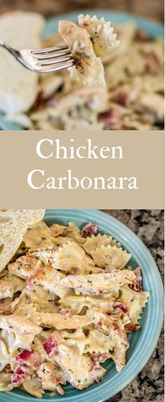 Discover the Sensational Chicken Carbonara Recipe w/ bacon, chicken & cheesy pasta perfection! The EASY way to create a gourmet chicken. Gourmet Chicken, Chicken Recipes, Pasta Recipes, Recipe Pasta, Chicken Carbonara Pasta, Alfredo Chicken, Easy Carbonara Recipe, Best Dinner Recipes, Delicious Recipes