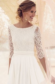cb71cdce Nice 30+ Three Quarter Sleeve Wedding Dresses for that Perfect Moment Lace  Wedding Dress With