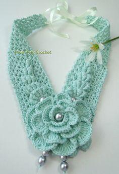 \ PINK ROSE CROCHET /: Colar Kimberly - Crochet Flower Necklace ~ Inspiration
